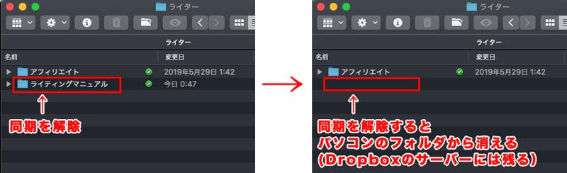 Dropboxのフォルダの同期を解除