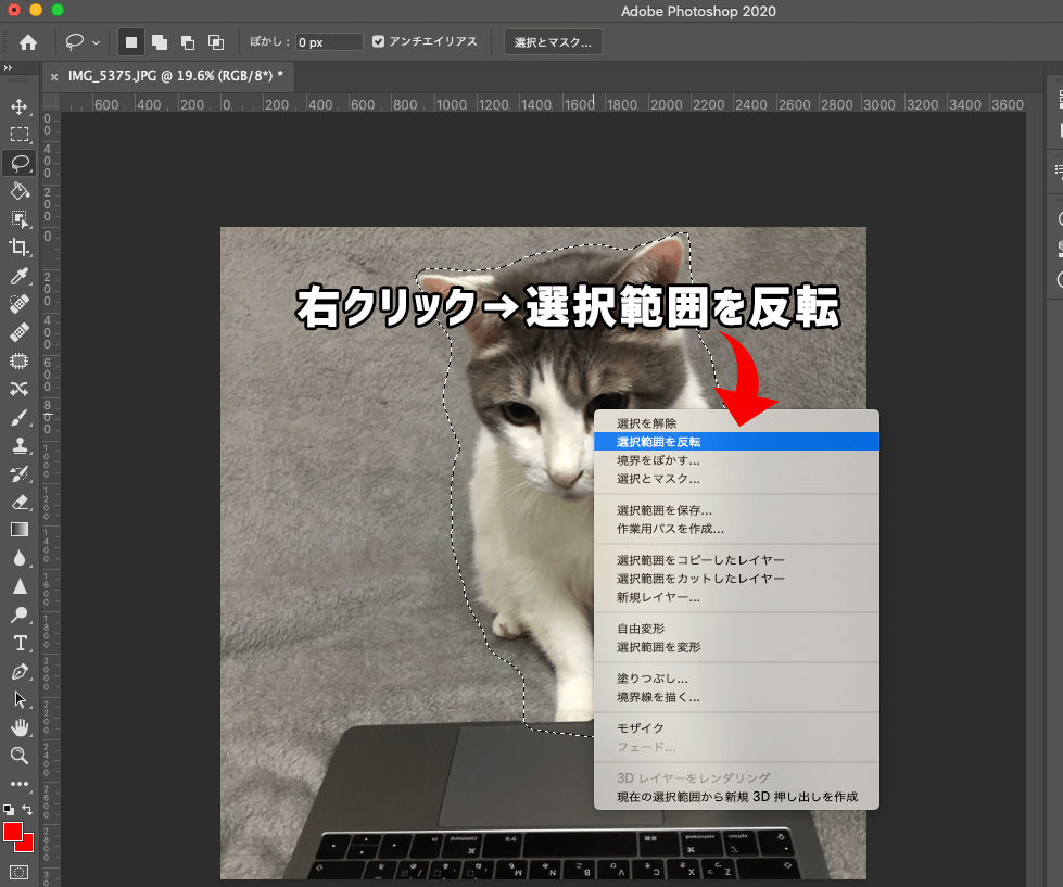 Photoshopで選択範囲を反転させる