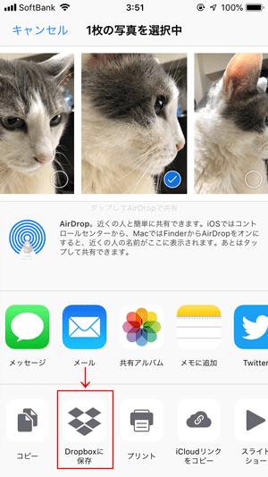 iPhoneの写真アプリからDropboxに保存